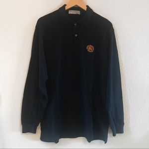 VINTAGE BURBERRY Navy Long Sleeve Polo